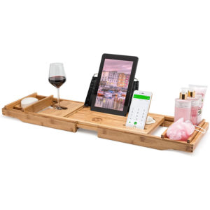 Extendable Bamboo Wooden Bath Tray with Caddy, Book/Tablet Holder, and Wine Glass Holder.