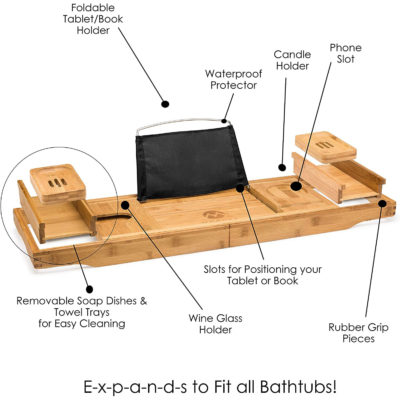 Features of the wooden bath caddy include the book stand, soap trays, extendable arms, and the phone slot.