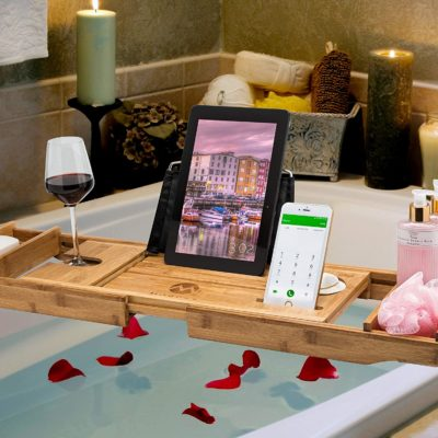 Here is a view of the bath-tub caddy set up for a luxurious bath time routine.