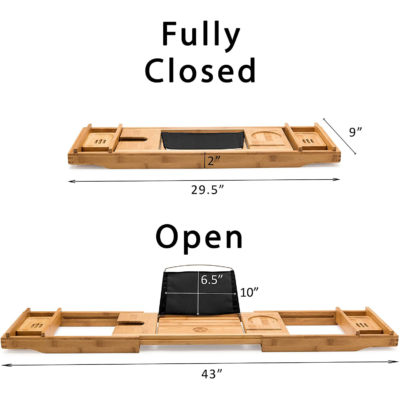 """When fully closed the bamboo bath tray is 29.5""""x9"""" but when fully extended it is 43""""."""