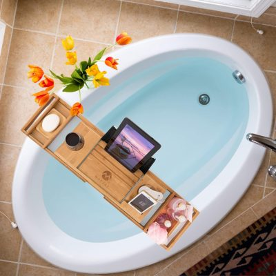 Here is another elegant way to set up your bath using Morvat's wooden bath tray.