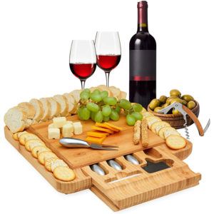 Bamboo Cheese Board, Charcuterie Board with Pull Out Drawer and Stainless Steel Cheese Cutlery Set