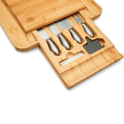 This set comes with everything you need including a corkscrew and chalkboard to mark your cheeses.
