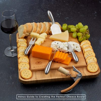 The concealed cutlery drawer of the bamboo cheese board contains a full cheese cutting set.