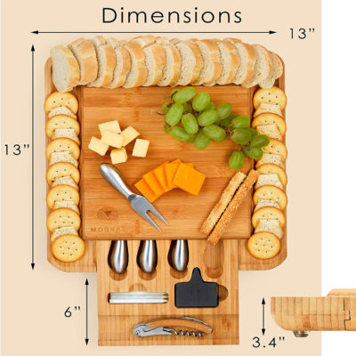 """This cheese board with a drawer and knives is 13""""x13"""" and the drawer is 6""""."""