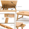 The adjustable lap desk features a magnetic closure, latches on the legs, and a removable holder.