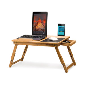 Lap Desk, Bed Desk for Laptop with Built in Mouse Pad, Tilting Shelf and Magnetic Drawer 100% Natural Bamboo Wood
