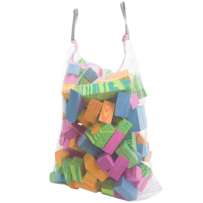 The foam building blocks for kids and toddlers comes with a large mesh storage bag.