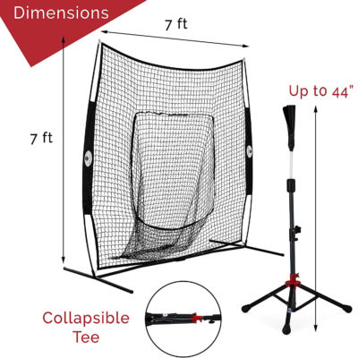"""The baseball net is 7'x7' while the tee reaches up to 44""""."""