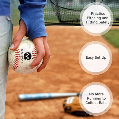 Use the baseball practice net to practice hitting and pitching safely outside or in your home.