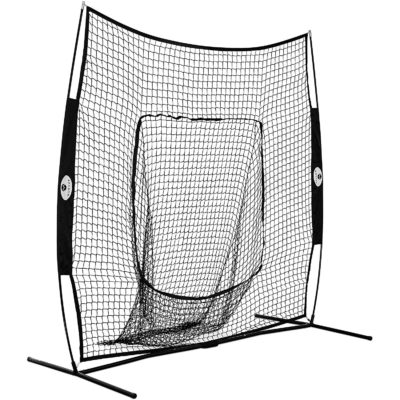 This is a closer view of the baseball throwing net.