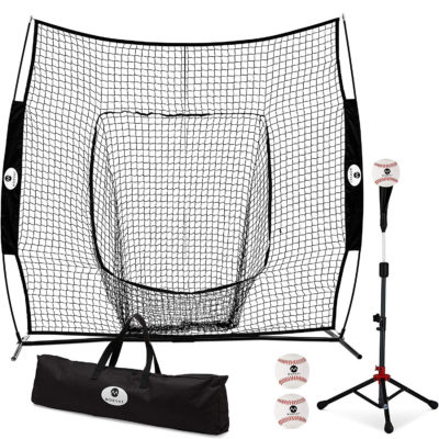 The baseball hitting net package includes a baseball net, tee, 3 balls, and a carry bag.