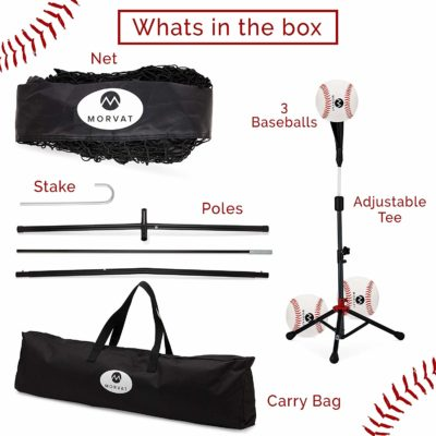 The baseball throwing net comes with a net, poles, stakes, a tee, 3 softballs, and a carry bag.