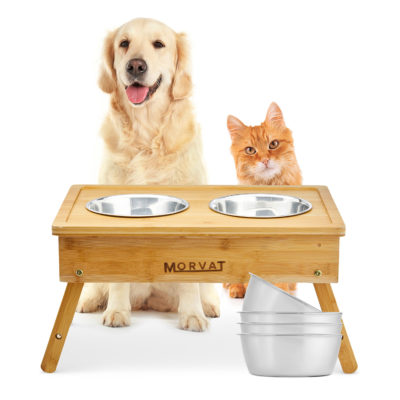 Your dogs or cats will love eating from these adjustable elevated dog bowls.