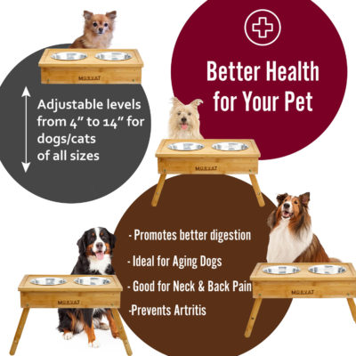 Promote better health for your pets with Morvat's wooden dog bowl stand.
