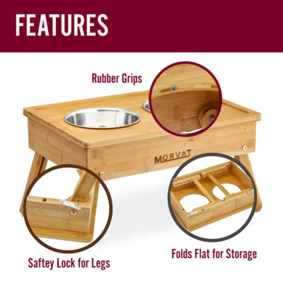 Rubber grips and leg safety locks ensure that the wooden raised dog bowls won't budge.