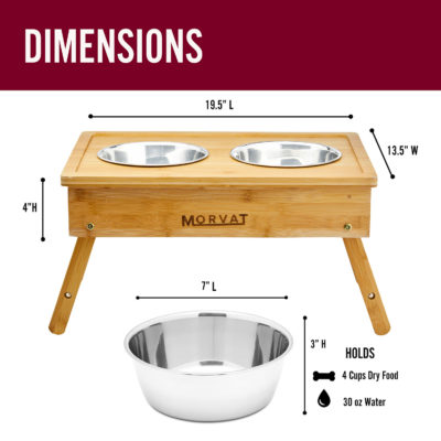 """The bamboo wooden dog stand is 19.5""""x13.5""""x4"""" and the bowls can hold 30 oz of water."""