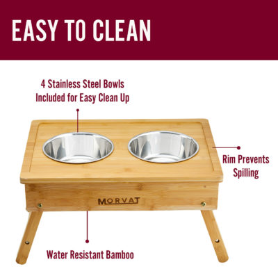 Our elevated dog bowls for large dogs are easy to keep clean and sanitary.