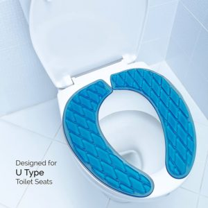 Gel Toilet Seat Cover, Padded and Cushioned Seat for Maximum Pressure Relief for Standard U Shape Toilet Seats, Blue