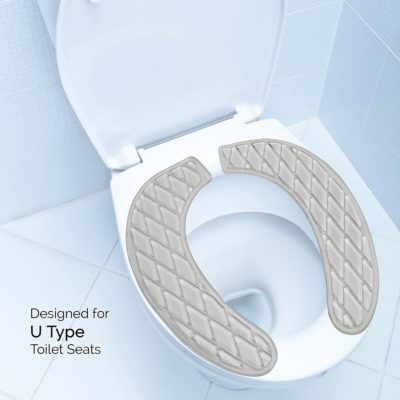 The gel toilet seat cover is made to fit a standard U shaped toilet.