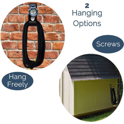 Hang this garden hose holder on a wall mount or freely over any banister or faucet.
