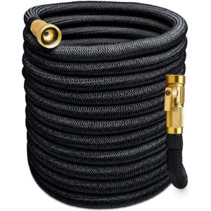Expandable Garden Hose, 5500D, All Brass Connection with Built-in Quick Shut-Off Valve, 150 FT