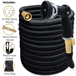 Expandable garden hose, 5500D, all-brass connection with built-in shut-off valve, Includes nozzle & carry bag – 75/100/150 ft