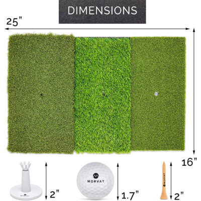 """The mat is 25""""x 16"""", the plastic and wooden tees are each 2"""", and the golf balls are 1.7""""."""