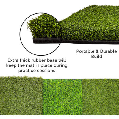 Here is a view of the strong rubber base which keeps the turf sturdy and durable.