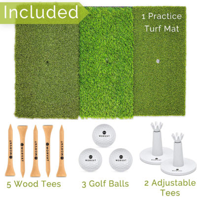 In each package there is 1 golf driving mat, 2 plastic tees, 3 golf balls, and 5 wooden tees.