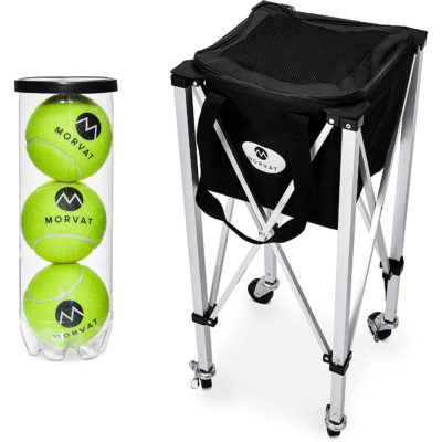 This tennis ball basket is great for all your tennis practice sessions.