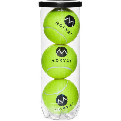 The tennis ball hopper with wheels comes with 3 balls to start your game with.