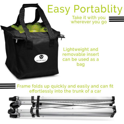 This is the best tennis ball hopper because it is lightweight, strong, and easily portable.