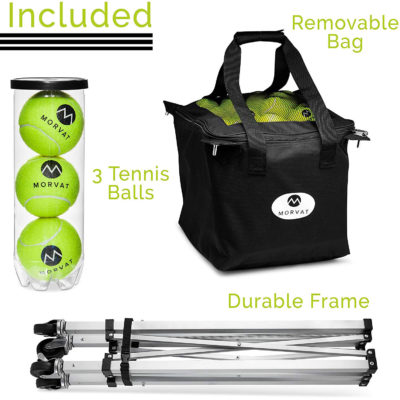 Morvat's tennis ball basket comes with 3 tennis balls, a removable bag, and a durable frame.