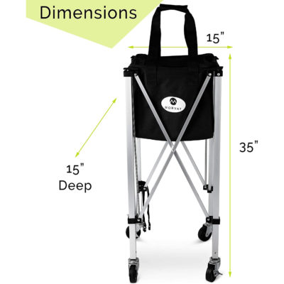 """The tennis ball hopper stands at 35""""x15""""x15"""" which is the perfect height to grab a ball."""