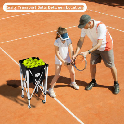 The lightweight frame makes the Morvat tennis ball hopper easy to transport between locations.