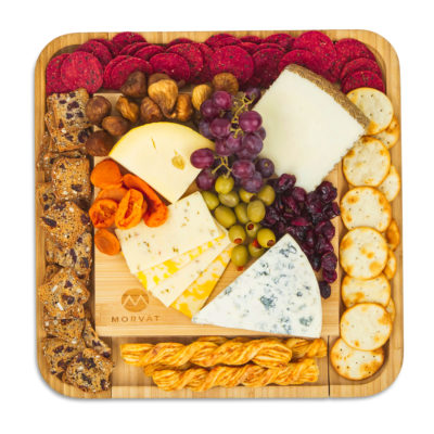 Your array of cheese and snacks will look fantastic on this cheese board and knife set.