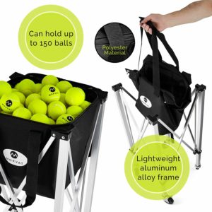 Tennis Ball Cart, Portable Tennis Ball Hopper Holds Up to 150 Tennis Balls, Includes Carry Bag