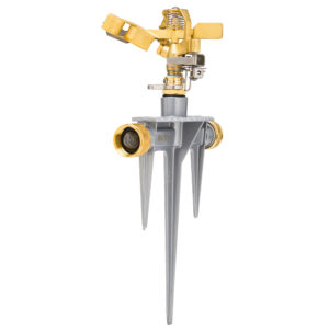 Impact sprinkler with a brass/nickel plated head & metal stake, 360° pattern, 40-49 foot spray distance