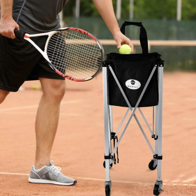 Using the tennis ball cart keeps your tennis balls on hand whenever you need them.