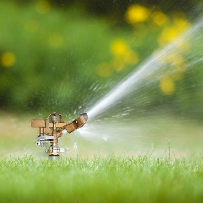 Morvat's impact sprinkler with a brass head. Your best lawn sprinkler for your garden or yard.