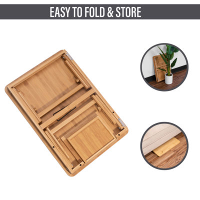 The bamboo laptop desk is easy to fold and store.