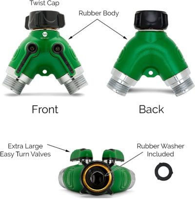 The hose y splitter has separate easy to use valves, so you can control the waterflow.