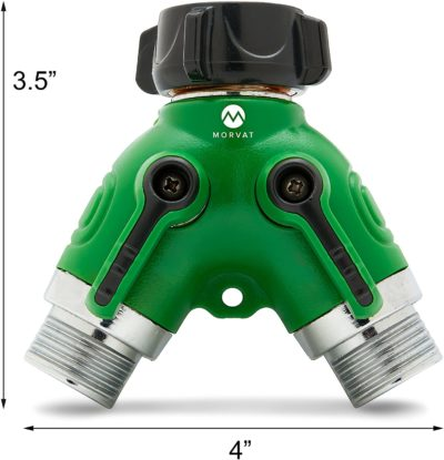 """Morvat's 2 way hose connector is compact, only 3.5""""x4""""."""