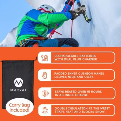 Morvat's rechargeable heated gloves for men and women. These will be your best electric gloves.
