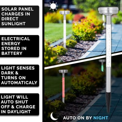 The color changing led path lights charge in the sunlight and automatically turn on at night.