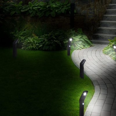 Solar path lights by Morvat. A 4 pack of LED solar yard lights with motion sensing.