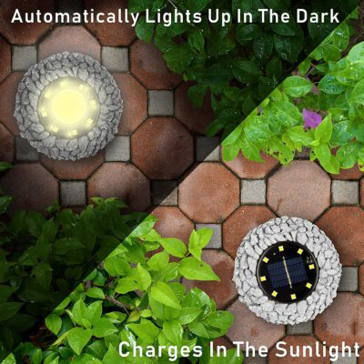 These gorgeous solar rock-lights for gardening automatically charge during the day and turn on at night.