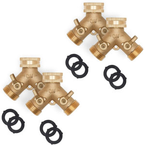Brass Garden Hose Splitter, Heavy Duty 2 Way Hose Connector Fitting, 4 Pack