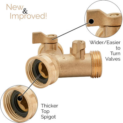 Morvat's 2 way Garden Hose Splitter. Strong and durable brass garden Hose Y Connector.
